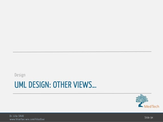 MedTech UML DESIGN: OTHER VIEWS… Design Dr. Lilia SFAXI www.liliasfaxi.wix.com/liliasfaxi Slide 94