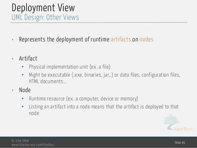 MedTech Deployment View • Represents the deployment of runtime artifacts on nodes • Artifact • Physical implementation uni...
