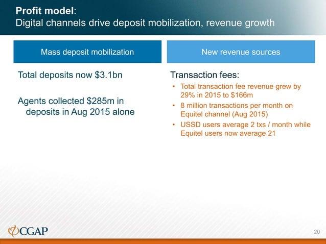 Profit model: Digital channels drive deposit mobilization, revenue growth Mass deposit mobilization New revenue sources Tr...