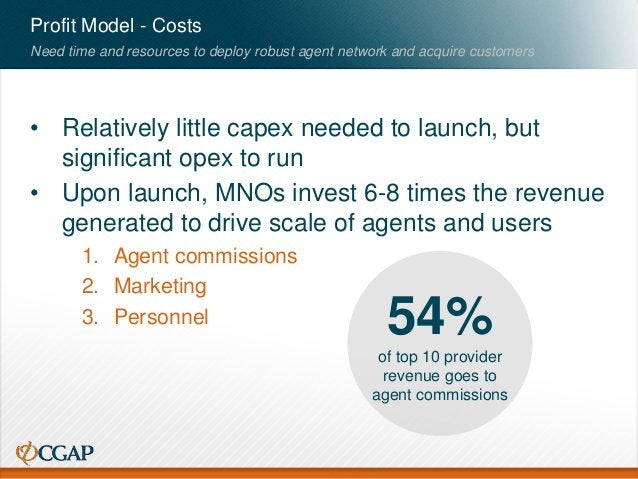 Profit Model - Costs • Relatively little capex needed to launch, but significant opex to run • Upon launch, MNOs invest 6-...