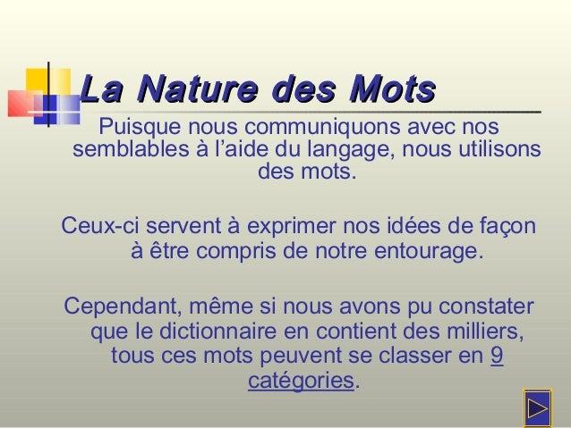 La Nature des MotsLa Nature des MotsPuisque nous communiquons avec nossemblables à l'aide du langage, nous utilisonsdes mo...