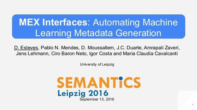 MEX Interfaces: Automating Machine Learning Metadata Generation D. Esteves, Pablo N. Mendes, D. Moussallem, J.C. Duarte, A...