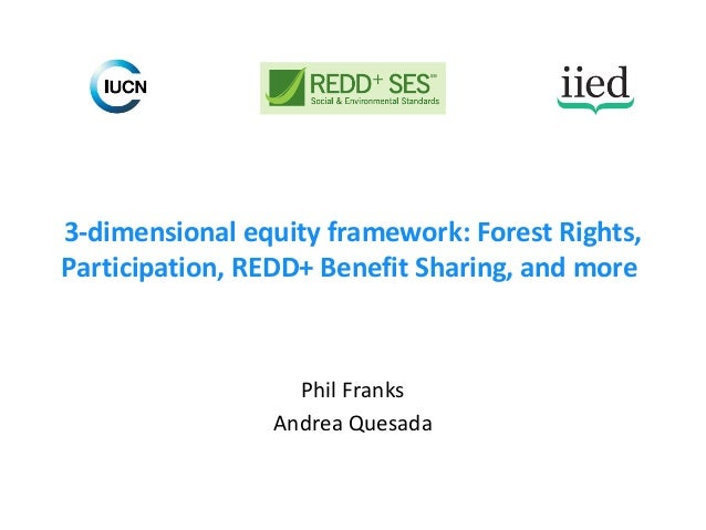 3-dimensional equity framework: Forest Rights, Participation, REDD+ Benefit Sharing, and more Phil Franks Andrea Quesada