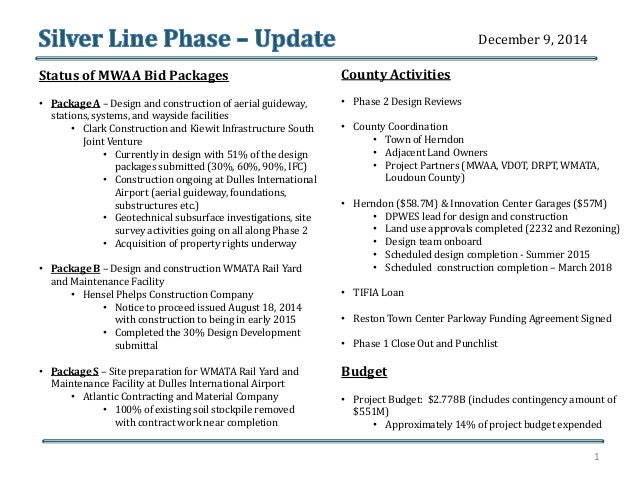 Status of MWAA Bid Packages  • Package A – Design and construction of aerial guideway,  stations, systems, and wayside fac...