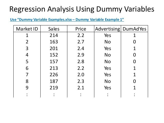 Dummy Variable Regression Analysis