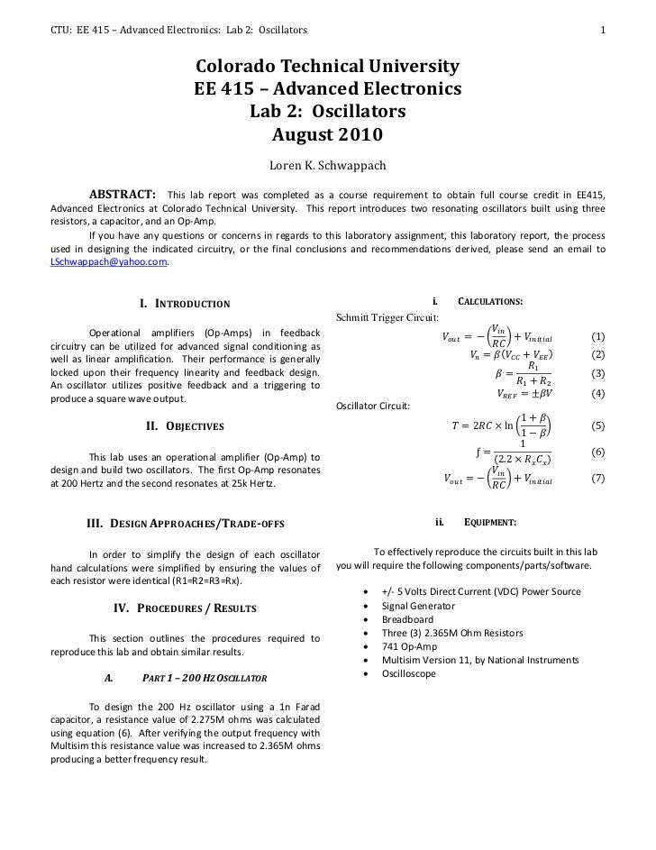 CTU: EE 415 – Advanced Electronics: Lab 2: Oscillators                                                                    ...