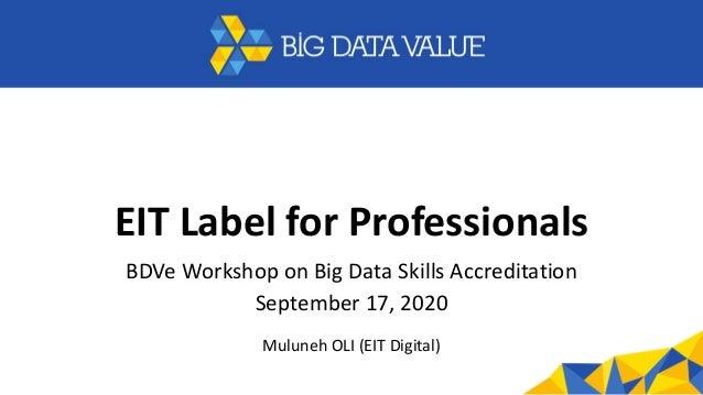 EIT Label for Professionals BDVe Workshop on Big Data Skills Accreditation September 17, 2020 Muluneh OLI (EIT Digital)