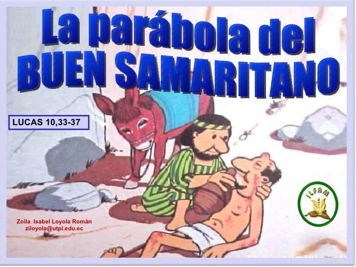 La parábola del BUEN SAMARITANO LUCAS 10,33-37 Zoila  Isabel Loyola Román ziloyola @utpl.edu.ec