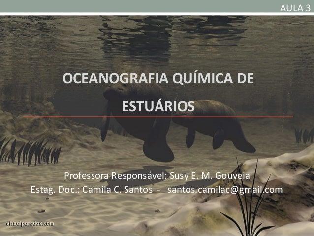AULA 3       OCEANOGRAFIA QUÍMICA DE                    ESTUÁRIOS        Professora Responsável: Susy E. M. GouveiaEstag. ...