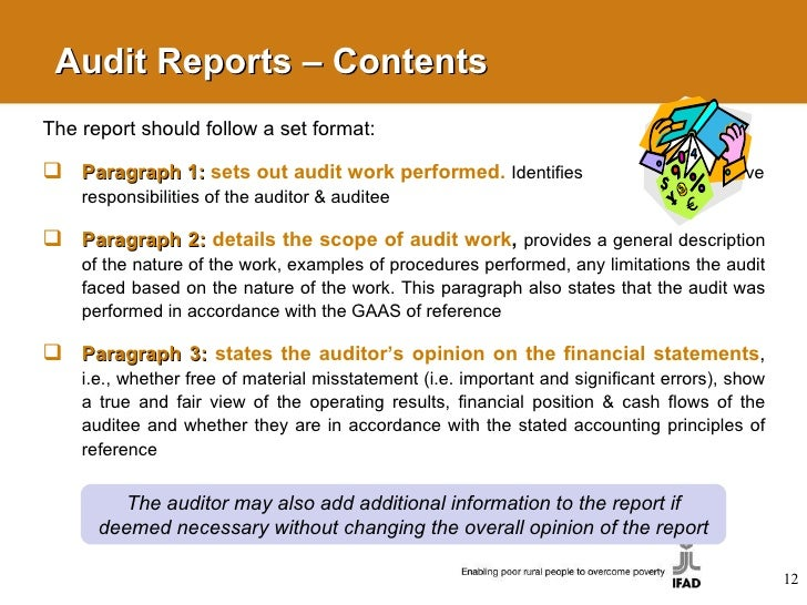 Audit Reports ...  Format For Audit Report