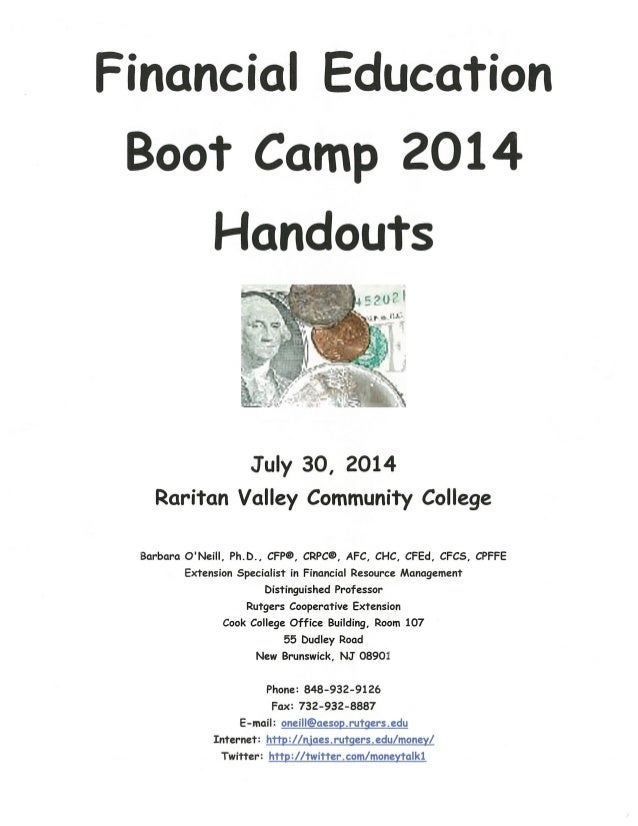 Financial Education Boot Camp-07-30-14-Group Activity Handouts