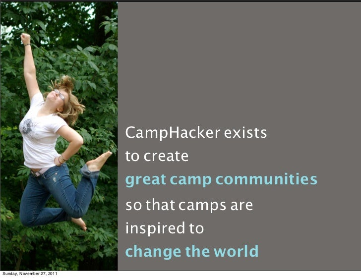 CampHacker exists                            to create                            great camp communities                  ...