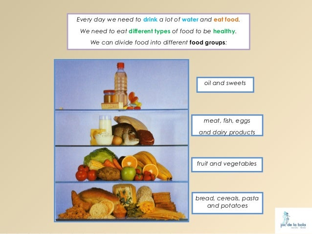 Every day we need to drink a lot of water and eat food. We need to eat different types of food to be healthy.    We can di...