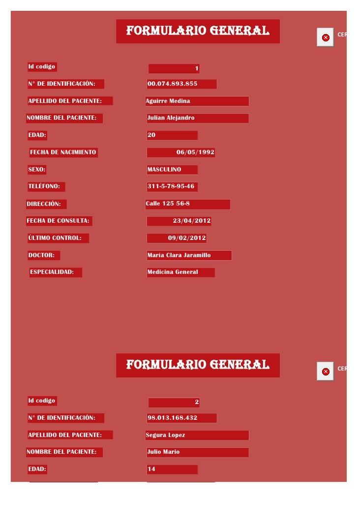 FORMULARIO GENERAL        CERRARId codigo                                     1N° DE IDENTIFICACIÓN:      00.074.893.855AP...