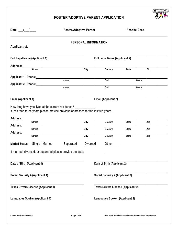 FOSTER/ADOPTIVE PARENT APPLICATION  D Date: ___/___/____                          Foster/Adoptive Parent                  ...