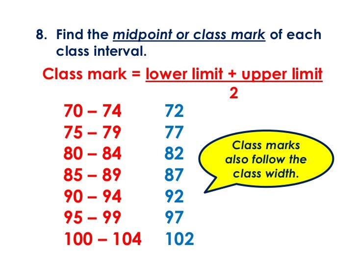 8. Find the midpoint or class mark of each   class interval.Class mark = lower limit + upper limit                        ...