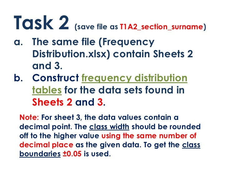 Task 2         (save file as T1A2_section_surname)a. The same file (Frequency   Distribution.xlsx) contain Sheets 2   and ...