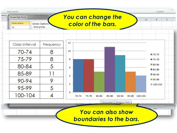 You can change the      color of the bars.Double click on a bar and it will   show formatting options.          You can al...