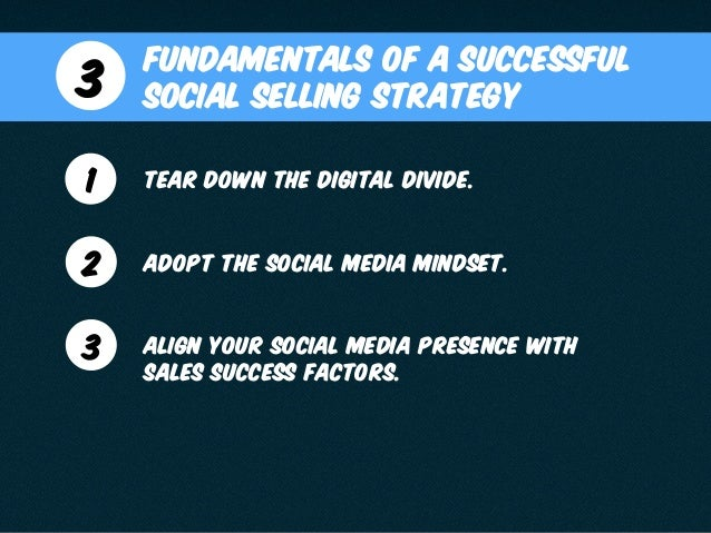 Fundamentals of a Successful Social Selling Strategy3 1 Tear down the digital divide. 2 Adopt the Social Media Mindset. 3 ...