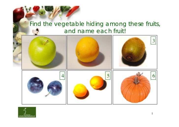 Find the vegetable hiding among these fruits,            and name each fruit!          1               2               3  ...