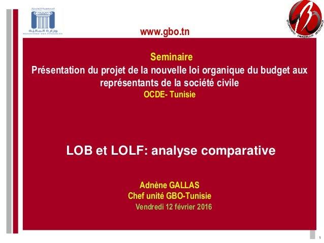 Seminaire Présentation du projet de la nouvelle loi organique du budget aux représentants de la société civile OCDE- Tunis...