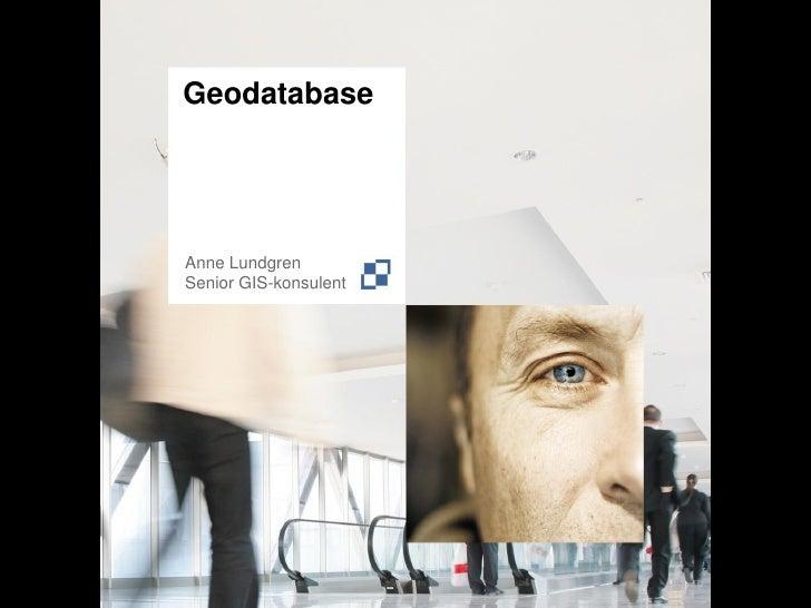 GeodatabaseAnne LundgrenSenior GIS-konsulent