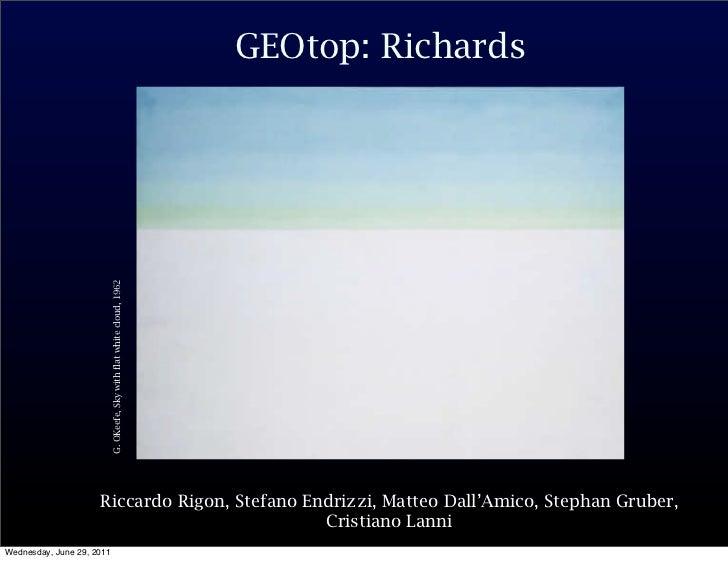GEOtop: Richards                           G. OKeefe, Sky with flat white cloud, 1962                     Riccardo Rigon, ...