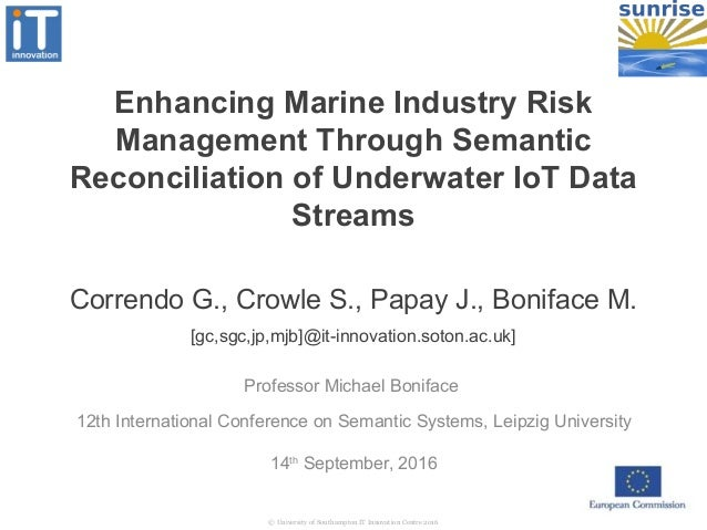 Enhancing Marine Industry Risk Management Through Semantic Reconciliation of Underwater IoT Data Streams 14th September, 2...
