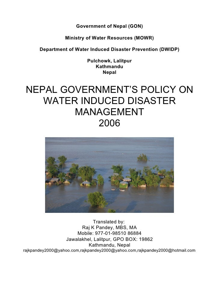 Government of Nepal (GON)                    Ministry of Water Resources (MOWR)         Department of Water Induced Disast...