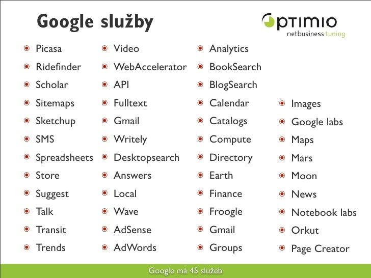 Google služby ๏ Picasa      ๏ Video                  ๏ Analytics ๏ Ridefinder   ๏ WebAccelerator ๏ BookSearch ๏ Scholar    ...