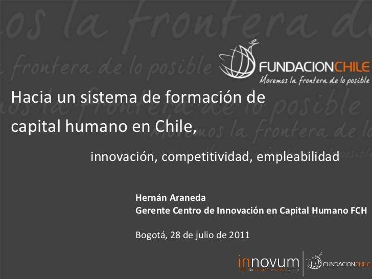 Hacia un sistema de formación de <br />capital humano en Chile,<br />innovación, competitividad, empleabilidad<br />Hernán...
