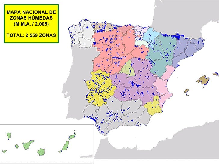 MAPA NACIONAL DE ZONAS HÚMEDAS (M.M.A. / 2.005) TOTAL: 2.559 ZONAS