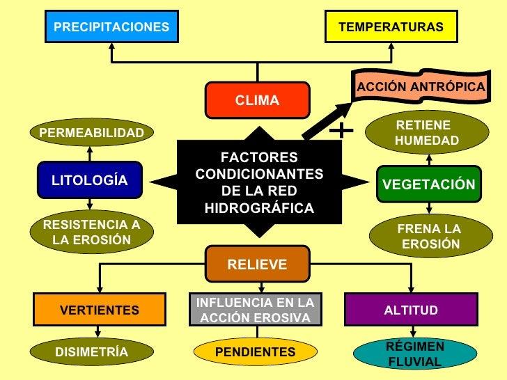 FACTORES CONDICIONANTES DE LA RED HIDROGRÁFICA CLIMA RELIEVE LITOLOGÍA VEGETACIÓN PRECIPITACIONES TEMPERATURAS VERTIENTES ...