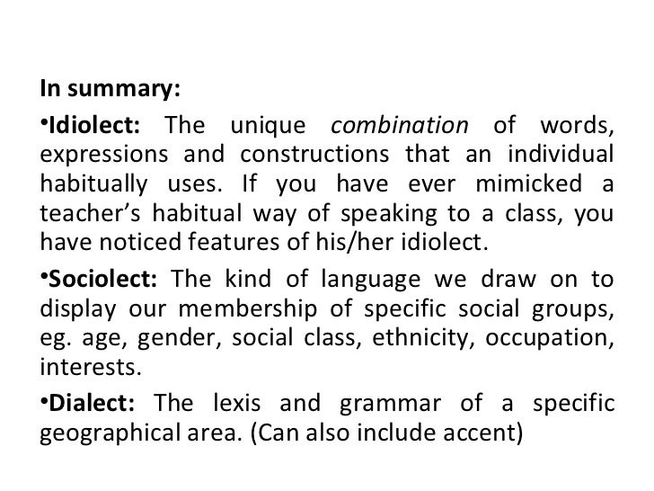 idiolect and sociolect essay