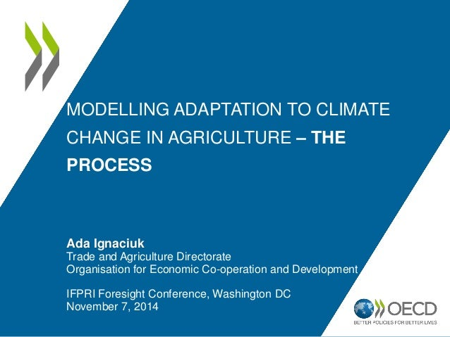 MODELLING ADAPTATION TO CLIMATE CHANGE IN AGRICULTURE – THE PROCESS Ada Ignaciuk Trade and Agriculture Directorate Organis...