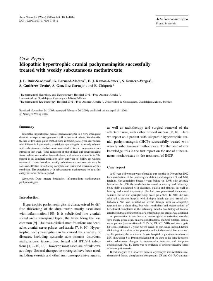 Acta Neurochir (Wien) (2006) 148: 1011–1014DOI 10.1007/s00701-006-0775-8Case ReportIdiopathic hypertrophic cranial pachyme...