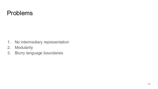 1. No intermediary representation 2. Modularity 3. Blurry language boundaries Problems 13