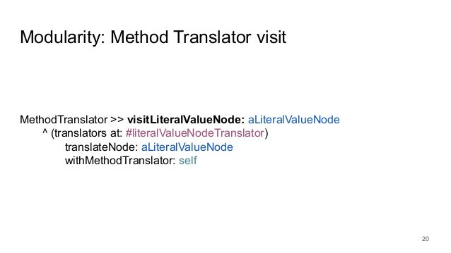 Modularity: Method Translator visit 20 MethodTranslator >> visitLiteralValueNode: aLiteralValueNode ^ (translators at: #li...