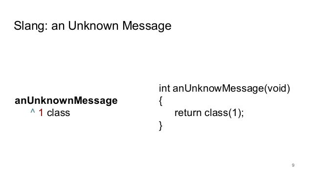Slang: an Unknown Message 9 anUnknownMessage ^ 1 class int anUnknowMessage(void) { return class(1); }