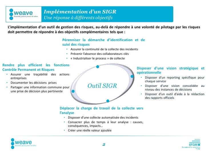 Implémentation d'un SIGR                         Une réponse à différents objectifs  L'implémentation d'un outil de gestio...