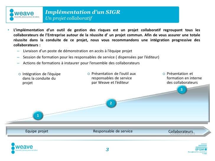 Implémentation d'un SIGR                       Un projet collaboratif•   L'implémentation d'un outil de gestion des risque...