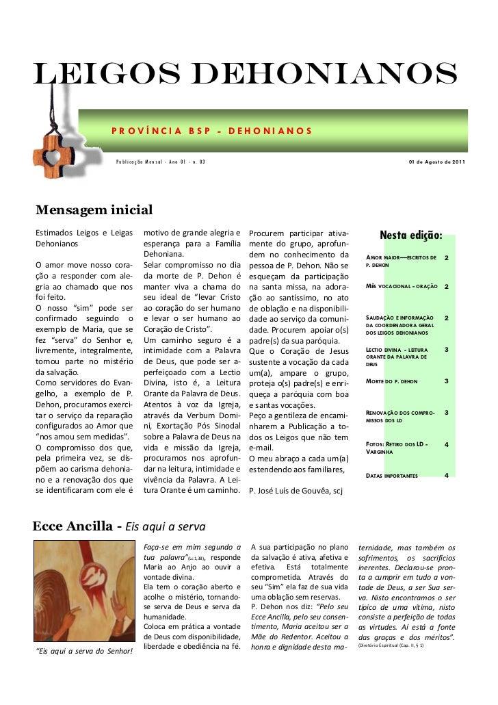 Leigos Dehonianos                     PROVÍNCIA BSP - DEHONIANOS                       Publicação Mensal - Ano 01 - n. 03 ...