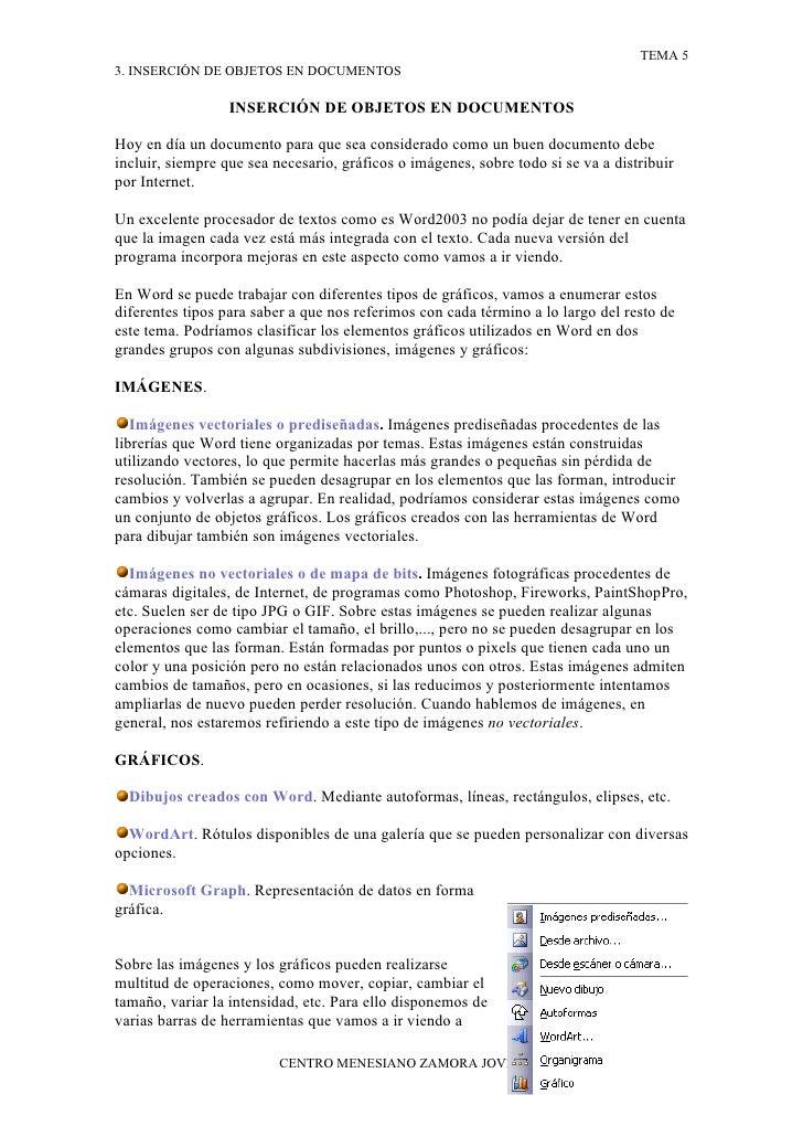 TEMA 5 3. INSERCIÓN DE OBJETOS EN DOCUMENTOS                    INSERCIÓN DE OBJETOS EN DOCUMENTOS  Hoy en día un document...