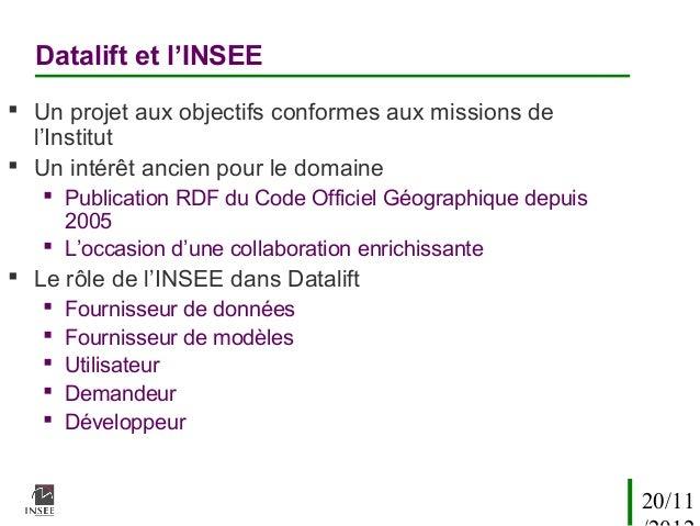 Datalift et l'INSEE Un projet aux objectifs conformes aux missions de  l'Institut Un intérêt ancien pour le domaine    ...