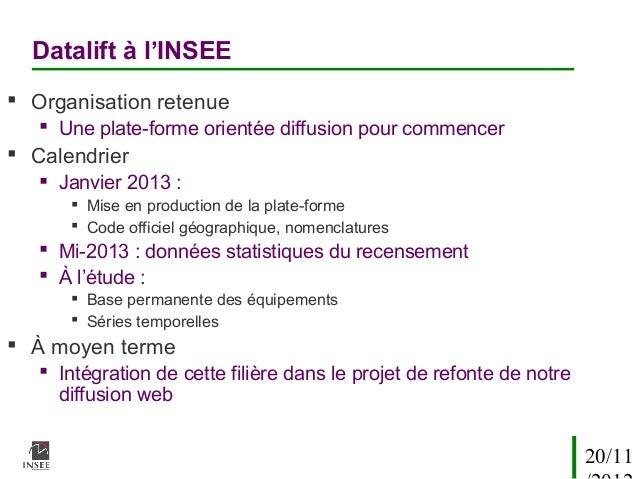 Datalift à l'INSEE Organisation retenue    Une plate-forme orientée diffusion pour commencer Calendrier    Janvier 201...