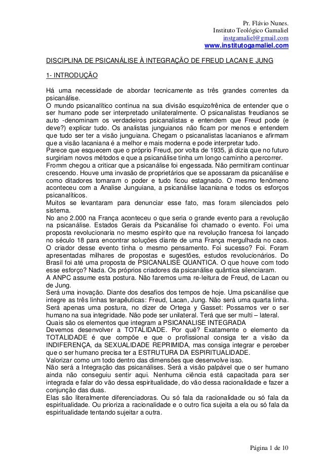 Pr. Flávio Nunes. Instituto Teológico Gamaliel instgamaliel@gmail.com www.institutogamaliel.com Página 1 de 10 DISCIPLINA ...