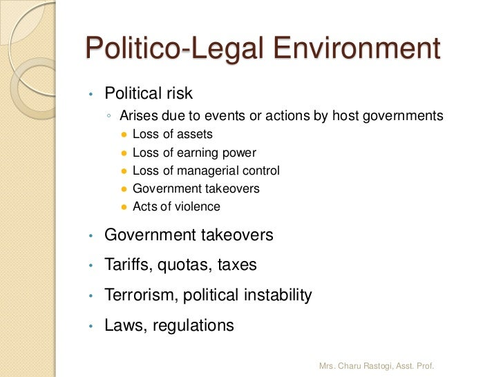 the legal political trade environment Start studying chapter 3: legal, technological, accounting, and political environments learn vocabulary, terms, and more.