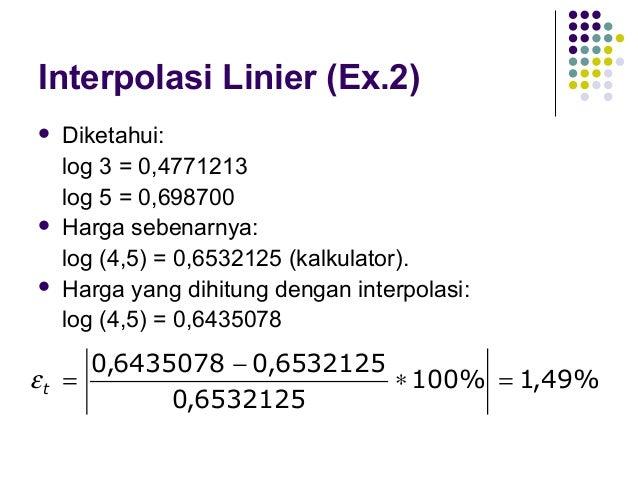 Interpolasi Linier  Pendekatan  interpolasi dengan derajat 1, pada kenyataannya sama dengan mendekati suatu harga tertent...