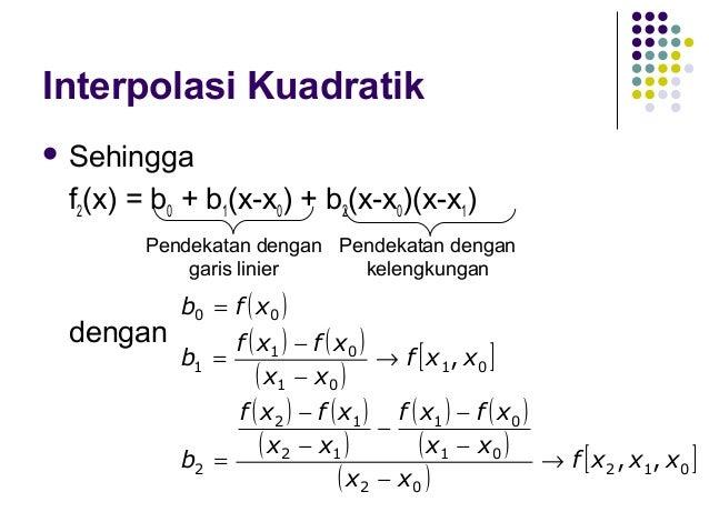 Interpolasi Kubik   f3(x) = b0 + b1(x-x0) + b2(x-x0)(x-x1) + b3(x-x0)(x-x1)(x-x2)  dengan:  b0 = f ( x0 ) b1 =  f ( x1 ) ...