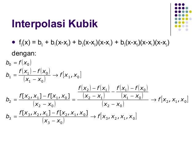 Interpolasi Beda Terbagi Newton   Secara umum: f1(x) = b0 + b1(x-x0) f2(x) = b0 + b1(x-x0) + b2(x-x0)(x-x1) f3(x) = b0 + ...